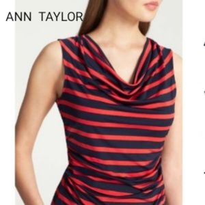 Ann Taylor Striped Ruched Cowl Neck Top